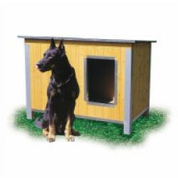 Niche isolée en bois pour chien avec toit simple pan incliné Large - Ouverture longueur