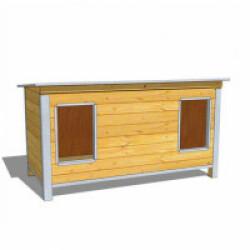Niche isolée en bois pour chien avec toit simple pan incliné Extra Large - 2 entrées