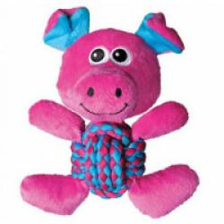 Peluche cochon avec corde pour chien KONG Weave Knots 20 cm
