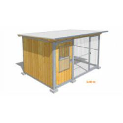 Poulailler durable en bois et métal avec 1 box et grillage Small - 3 x 2 m