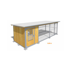 Poulailler durable en bois et métal avec 1 box et grillage Large - 5,5 x 2 m