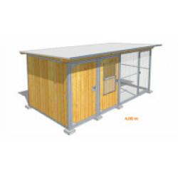 Poulailler durable en bois et métal avec 2 box et grillage Small - 5,50 x 2 m