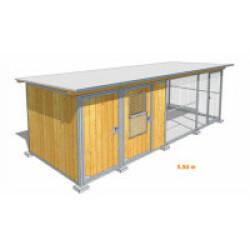 Poulailler durable en bois et métal avec 2 box et grillage Medium - 4 x 2 m