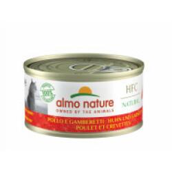 Pâtée pour chat Almo Nature HFC Natural - Lot de 6 x 70 g Poulet et Crevettes