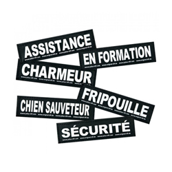 """Stickers Velcro pour harnais Julius-K9  pour chien """"Assistance"""" Lot de 2 (11 x 3 cm)"""