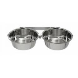 Support double avec écuelles Eco pour parois de chenil pour chien 2 x 2,5 L